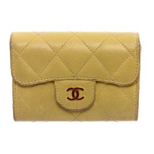 Chanel Yellow Lambskin Leather Card Holder